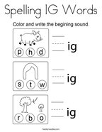 Spelling IG Words Coloring Page