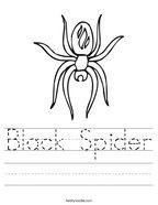 Black Spider Handwriting Sheet