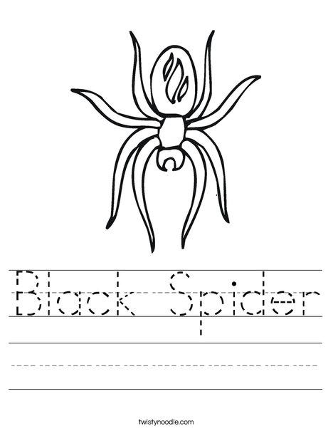 Black Spider Worksheet Twisty Noodle
