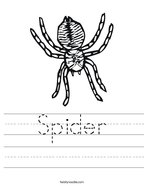 Spider Handwriting Sheet
