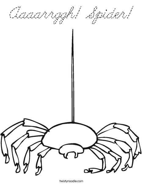 Spider with Web Strand Coloring Page