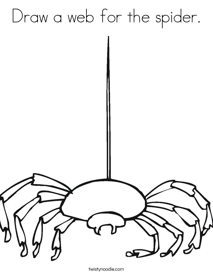 Draw a web for the spider. Coloring Page