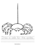 Draw a web for the spider Handwriting Sheet