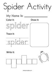 Spider Activity Coloring Page