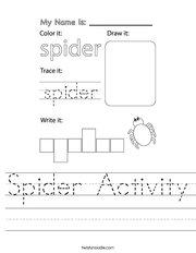 Spider Activity Handwriting Sheet