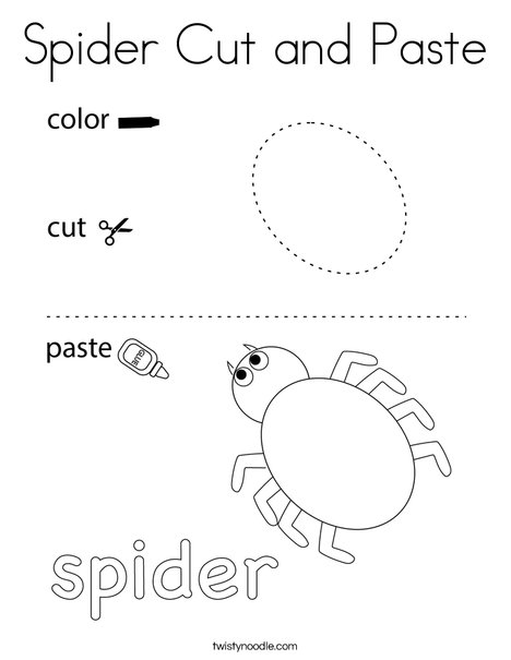 Spider Cutting Practice Coloring Page