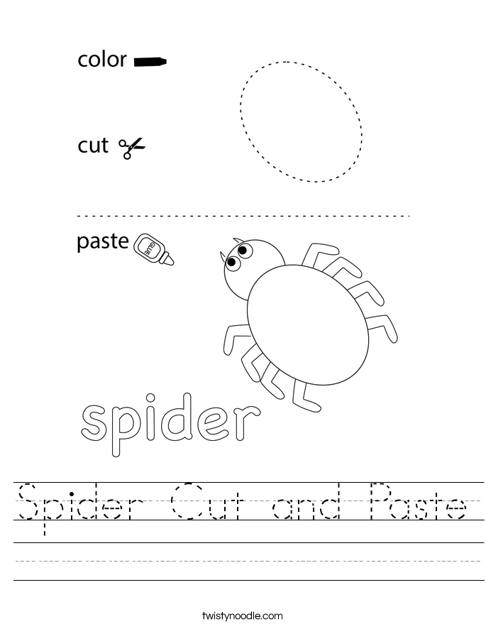 Spider Cut and Paste Worksheet