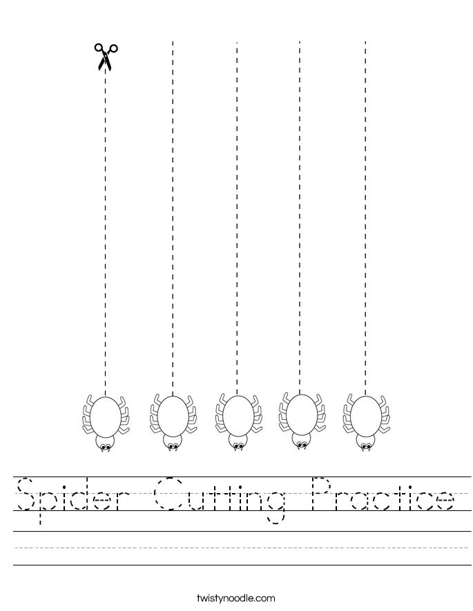 Spider Cutting Practice Worksheet