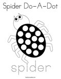 Spider Do-A-Dot Coloring Page
