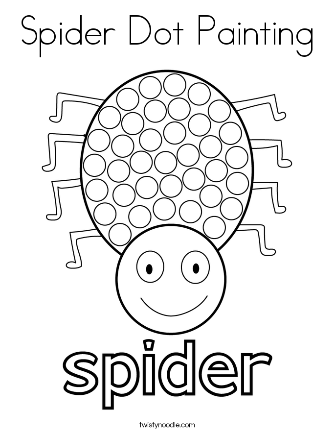 Spider Dot Painting Coloring Page