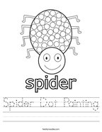 Spider Dot Painting Handwriting Sheet