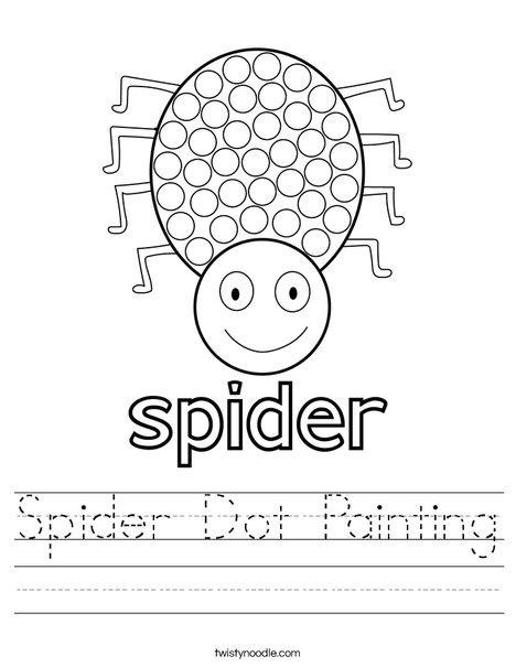 Spider Dot Painting Worksheet