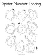 Spider Number Tracing Coloring Page