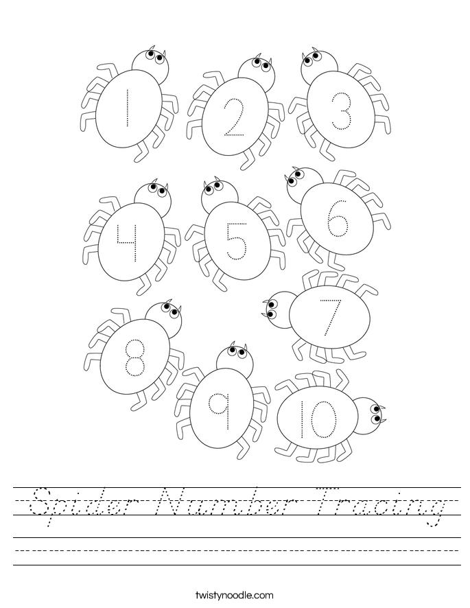 Spider Number Tracing Worksheet - D'Nealian - Twisty Noodle