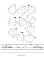 Spider Number Tracing Handwriting Sheet