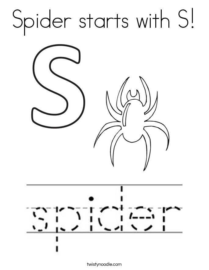 Spider starts with S! Coloring Page