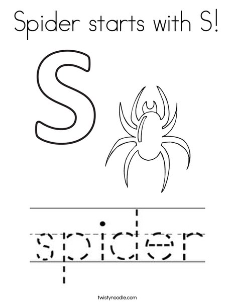 Spider starts with S. Coloring Page