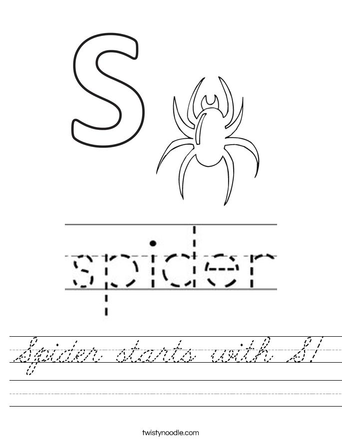 Spider starts with S! Worksheet