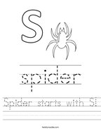 Spider starts with S Handwriting Sheet