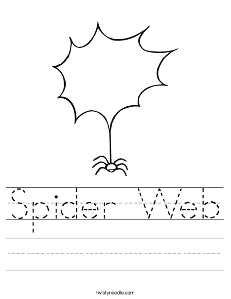 Spider with Blank Web Worksheet