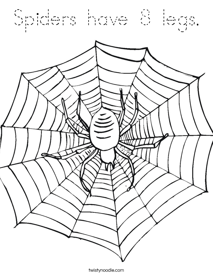 Spiders have 8 legs. Coloring Page