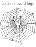 Spiders have 8 legs.Coloring Page