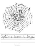 Spiders have 8 legs. Worksheet