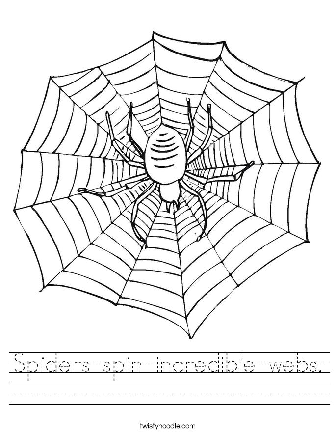 Spiders spin incredible webs. Worksheet