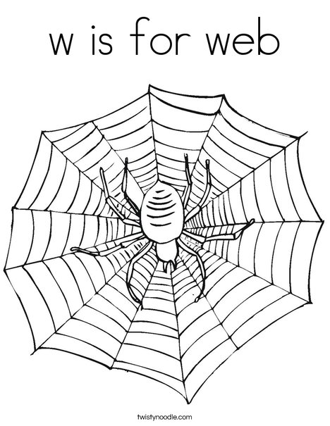 W Is For Web Coloring Page Twisty Noodle Spider Web Coloring Page