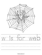 w is for web Handwriting Sheet