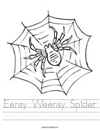 Eensy Weensy Spider Handwriting Sheet