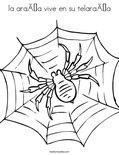 la araña vive en su telaraña Coloring Page