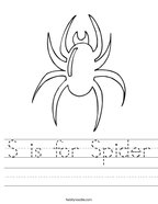 S is for Spider Handwriting Sheet