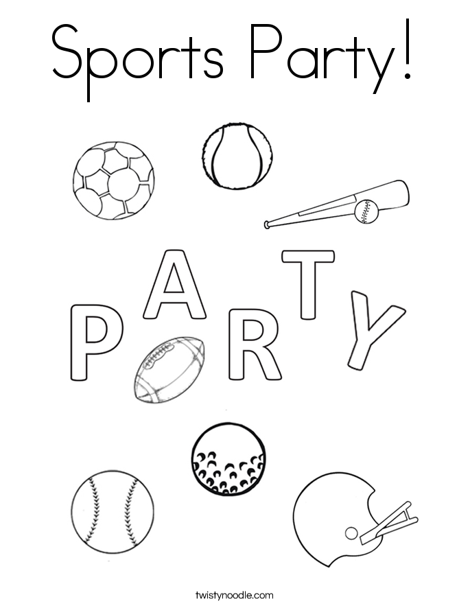 Sports Party! Coloring Page