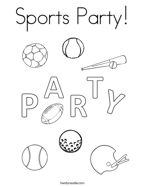 Sports Party Coloring Page