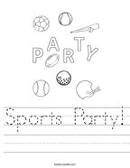 Sports Party Handwriting Sheet
