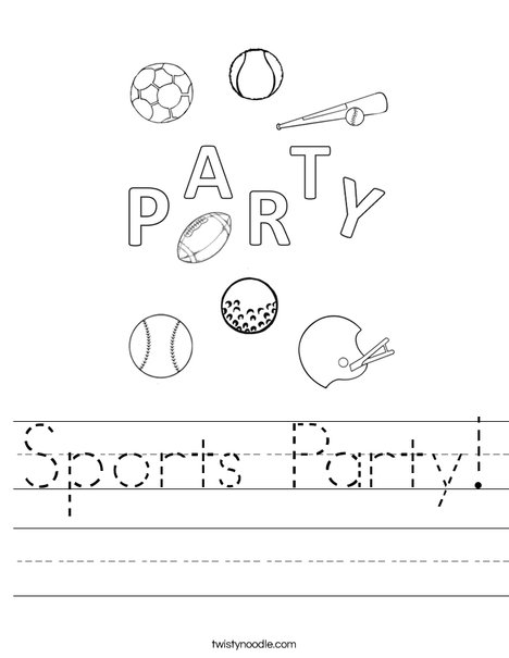 Sports Party Worksheet