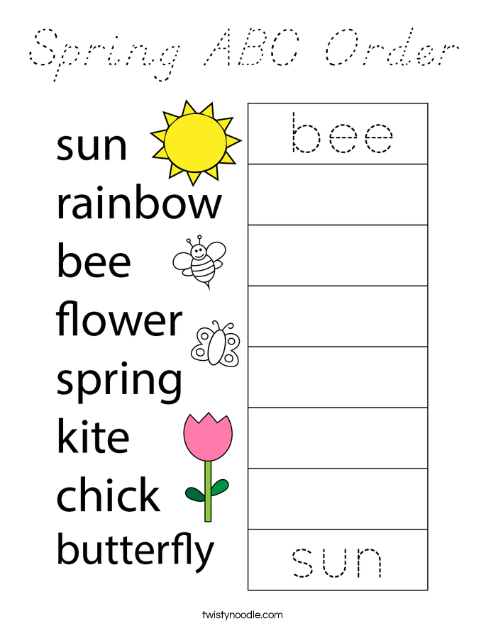 Spring ABC Order Coloring Page