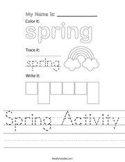 Spring Activity Handwriting Sheet