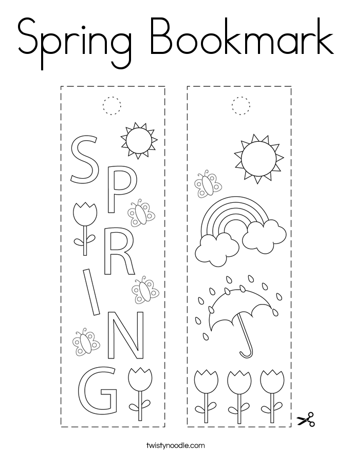 Spring Bookmark Coloring Page