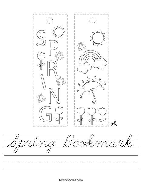 Spring Bookmark Worksheet