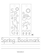 Spring Bookmark Handwriting Sheet