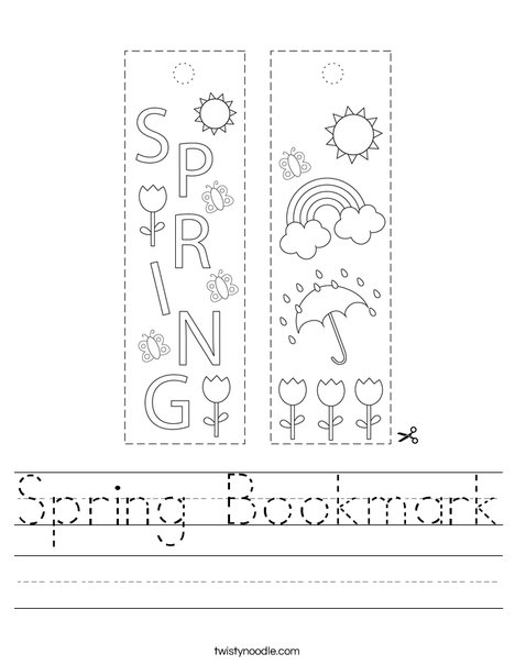 Spring Bookmark Worksheet