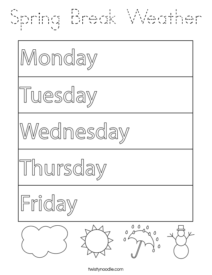 Spring Break Weather Coloring Page