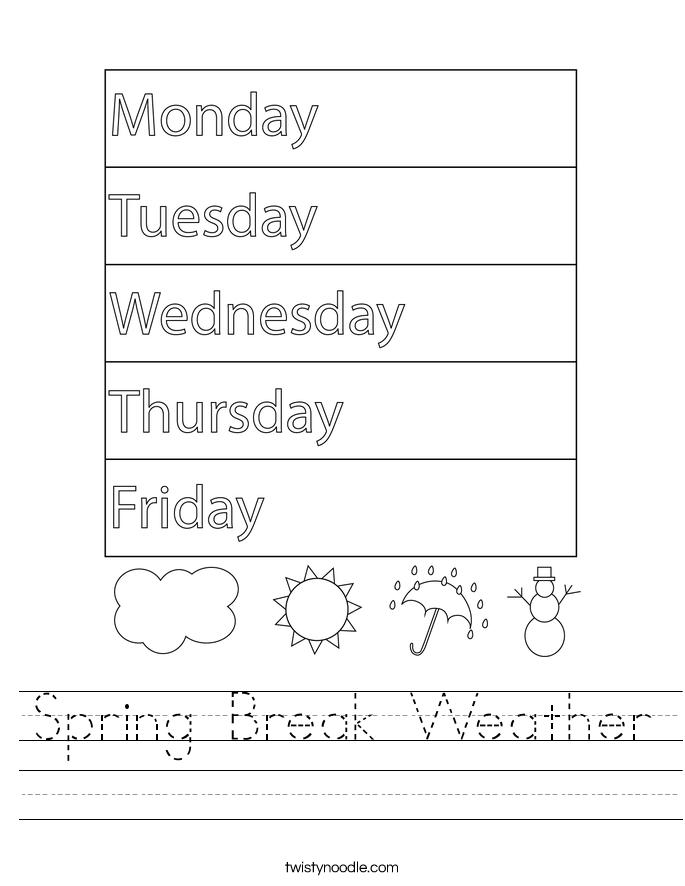 Spring Break Weather Worksheet