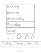 Spring Break Weather Handwriting Sheet