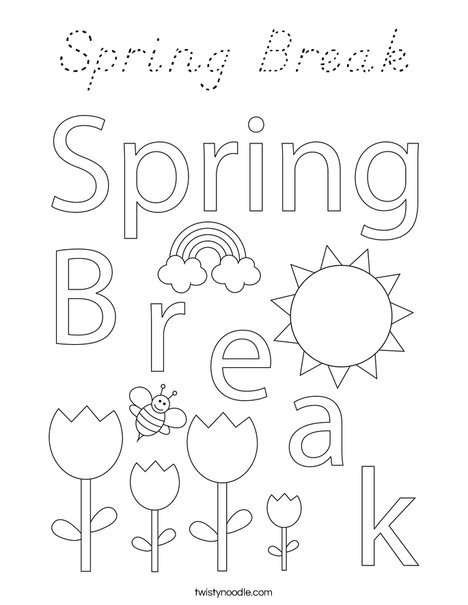Spring break coloring page d 39 nealian twisty noodle for Coloring pages spring break