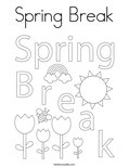 Spring Break Coloring Page