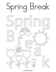 Spring Break Coloring Page