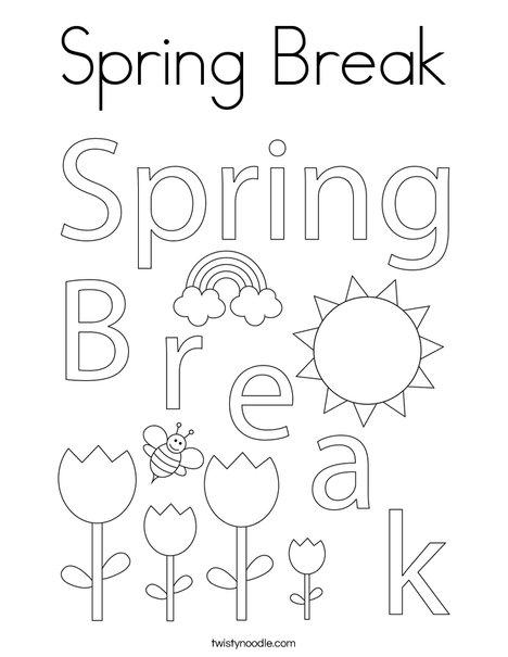spring break coloring pages Spring Break Coloring Page   Twisty Noodle spring break coloring pages